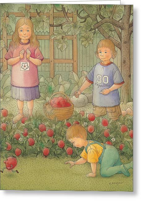 Strawberry Drawings Greeting Cards - Raid Greeting Card by Kestutis Kasparavicius