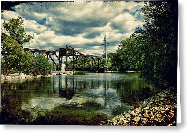 Rail Swing Bridge Greeting Card by Joel Witmeyer
