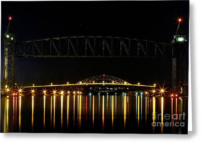 Railroad and Bourne Bridge at Night Cape Cod Greeting Card by Matt Suess