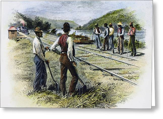 Destiny Greeting Cards - Railroad Construction Greeting Card by Granger
