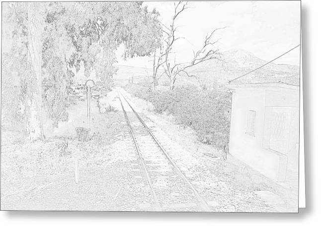 Railroad Crossing In Pencil Sketch Look On The Way From Mycenae To Olympia In Greece Greeting Card by John Shiron