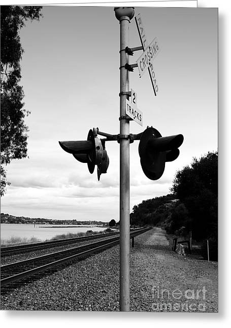 San Pablo Bay Greeting Cards - Railroad Crossing Light . Black and White Greeting Card by Wingsdomain Art and Photography
