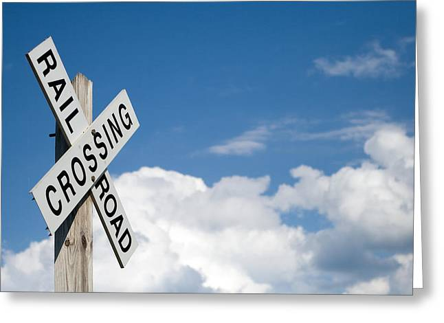 Sky Lovers Art Greeting Cards - Railroad Crossing Sign Greeting Card by Stephanie McDowell