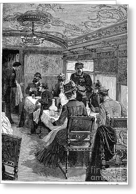 1880s Greeting Cards - Railroad: Dining Car, 1880 Greeting Card by Granger