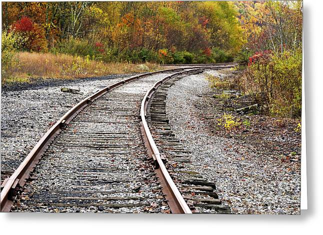 Train Yard Greeting Cards - Railroad Fall Color Greeting Card by Thomas R Fletcher