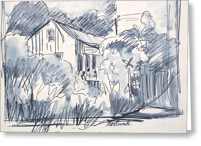 Old Cabins Drawings Greeting Cards - Railroad House Greeting Card by Bill Joseph  Markowski