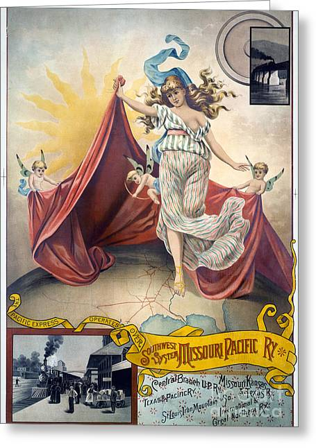 1880s Greeting Cards - RAILROAD POSTER, c1890 Greeting Card by Granger