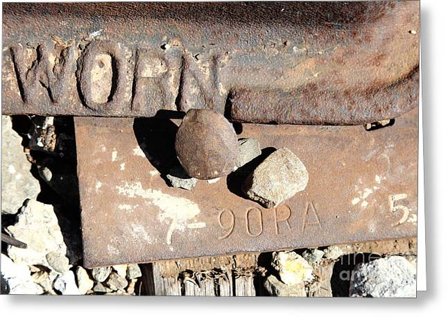 Railroad Tie Greeting Cards - Railroad Track Spike and Tie Downs . 5D18762 Greeting Card by Wingsdomain Art and Photography