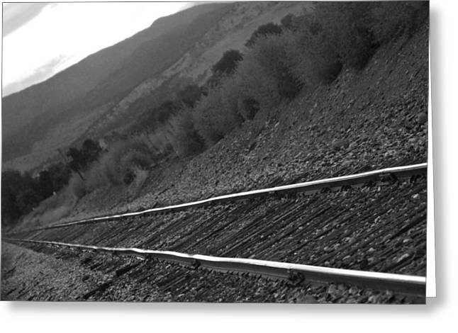 Black And White Train Track Prints Greeting Cards - Railroad Tracks Down The Line Black and White Greeting Card by James BO  Insogna