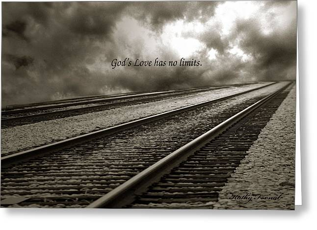 No Limits Greeting Cards - Railroad Tracks Storm Clouds Inspirational Message  Greeting Card by Kathy Fornal