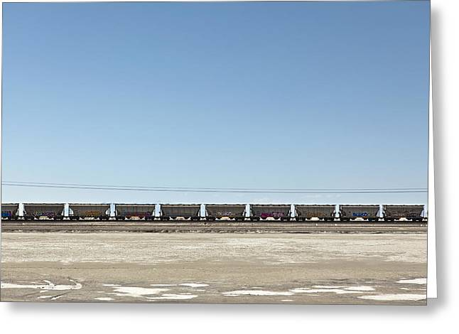 Freight Transportation Greeting Cards - Railroad Train Hopper Cars Bonneville Greeting Card by Dan Kaufman