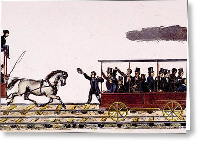 Race Horse Greeting Cards - Railroading: Locomotives: Greeting Card by Granger