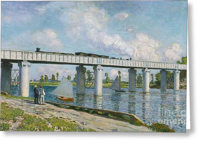 Blue Sailboat Greeting Cards - Railway Bridge at Argenteuil Greeting Card by Claude Monet