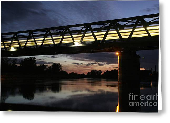 Traffic Pyrography Greeting Cards - Railway Bridge Greeting Card by Torsten Dietrich