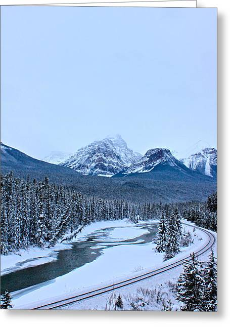 Banff Greeting Cards - Railway in Canadian Rockies Greeting Card by Jordan  Drapeau