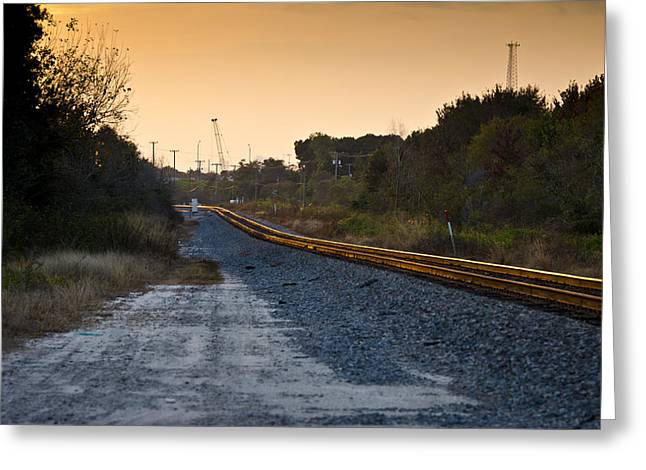 Railway Into Town Greeting Card by Carolyn Marshall