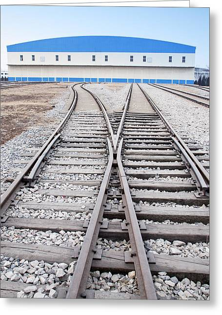 Railway Shed And Sidings. Bright Blue Greeting Card by Guang Ho Zhu