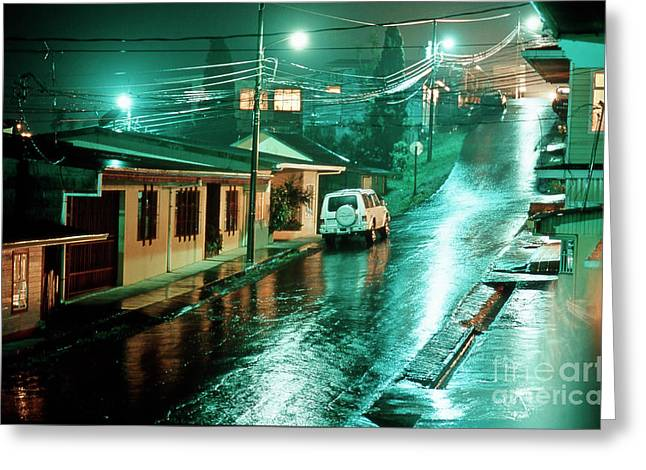 Night Scenes Greeting Cards - Rain at night in San Jose Greeting Card by Heiko Koehrer-Wagner