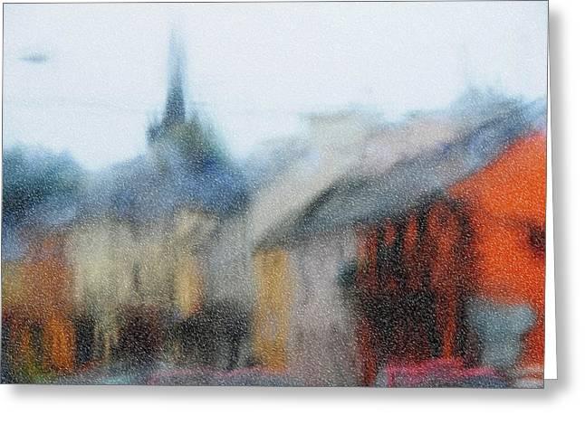 Evgeniya Vlasova Greeting Cards - Rain. Carrick on Shannon. Impressionism Greeting Card by Jenny Rainbow