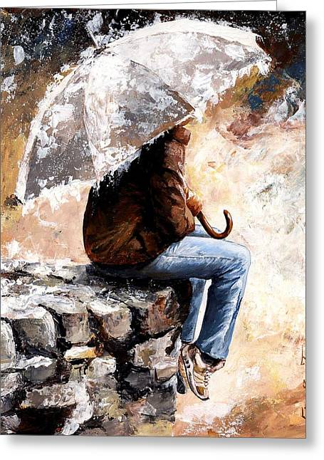 Autumn Morning Greeting Cards - Rain day Greeting Card by Emerico Imre Toth