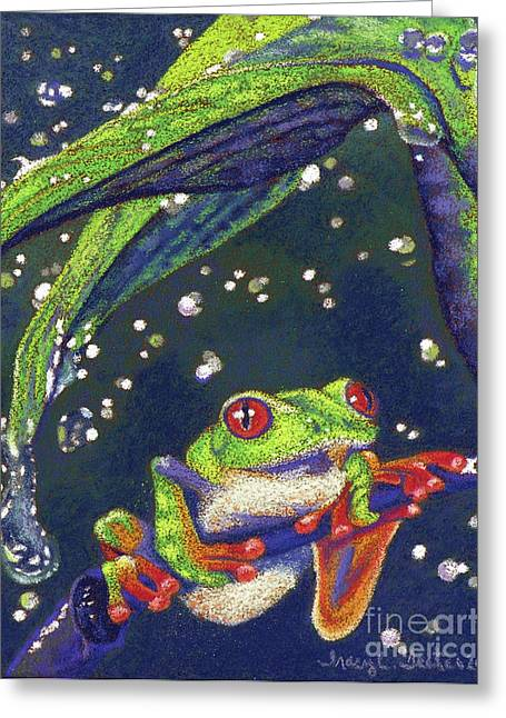 Amphibians Pastels Greeting Cards - Rain Drops - Tree Frog Greeting Card by Tracy L Teeter