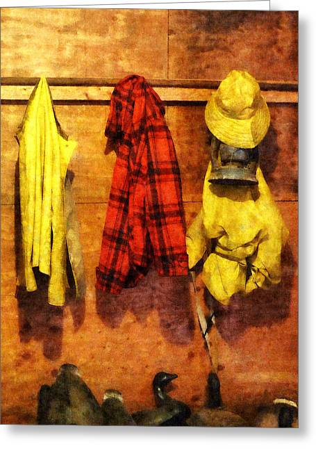 Best Sellers -  - Raining Greeting Cards - Rain Gear and Red Plaid Jacket Greeting Card by Susan Savad