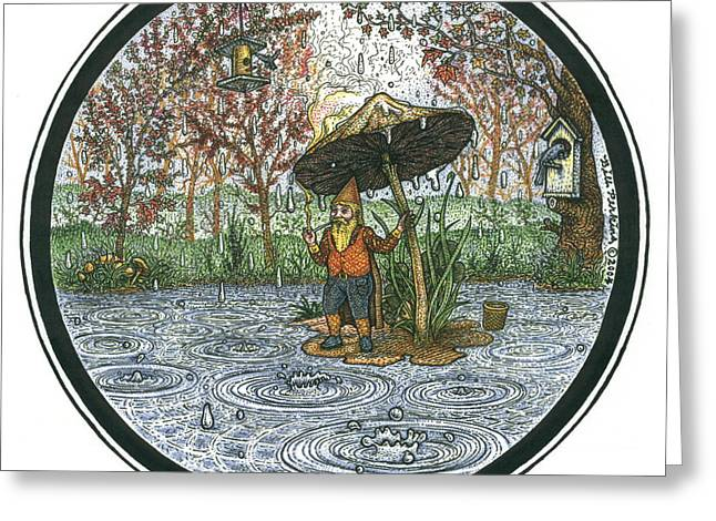 Puddle Drawings Greeting Cards - Rain Gnome Rain Circle Greeting Card by Bill Perkins