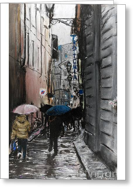 Florence Pastels Greeting Cards - Rain in Florence Greeting Card by Barry Rothstein