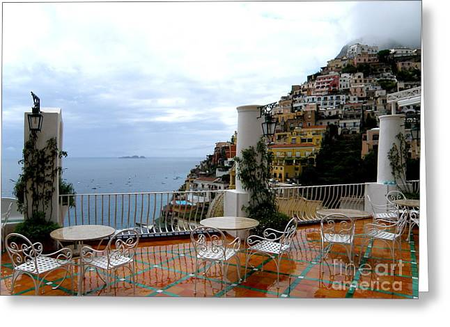 Tatyana Greeting Cards - Rain in Positano Greeting Card by Tanya  Searcy