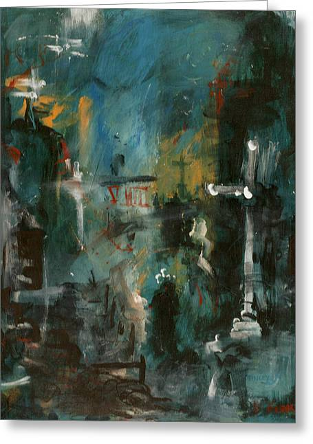Abstract Rain Greeting Cards - Rain in the Night City Greeting Card by David Finley