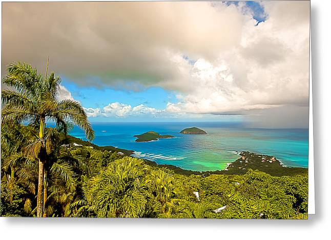 Charlotte Amalie Greeting Cards - Rain in the Tropics Greeting Card by Keith Allen