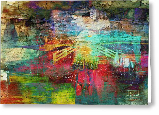 Intrigue Mixed Media Greeting Cards - Rain Greeting Card by Jan Steadman-Jackson