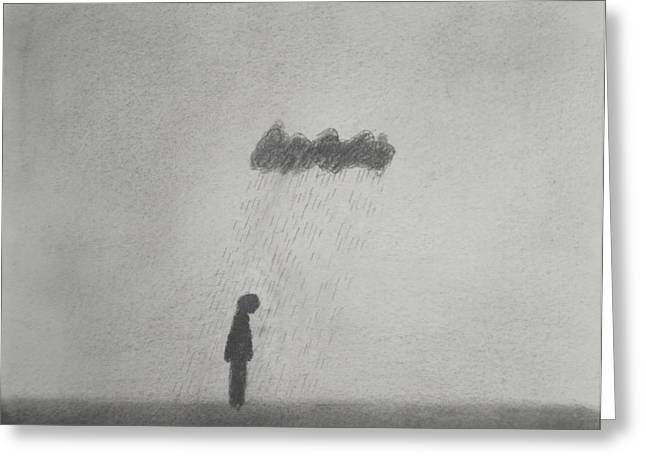 Belt Drawings Greeting Cards - Rain Greeting Card by Keith Straley