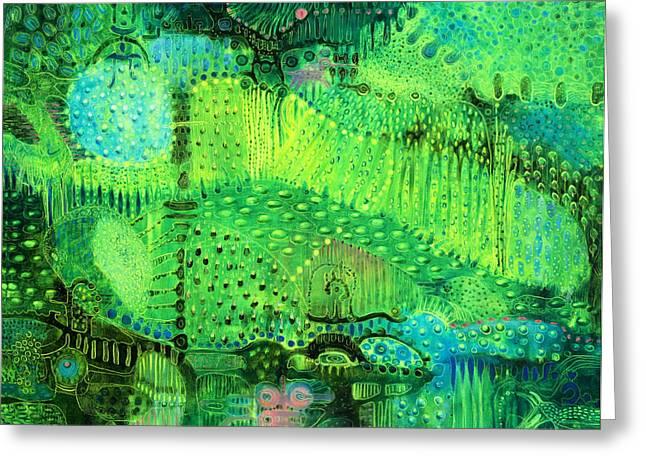 Fantasy Creatures Paintings Greeting Cards - Rain Land I  Greeting Card by Lolita Bronzini
