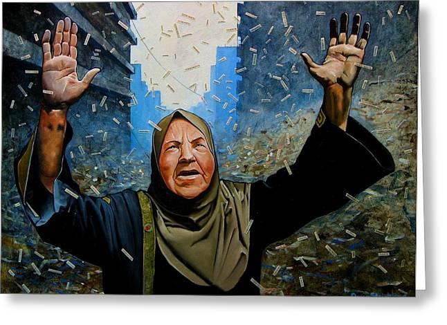 Terrorist Paintings Greeting Cards - Rain of Terror Greeting Card by Doug Strickland