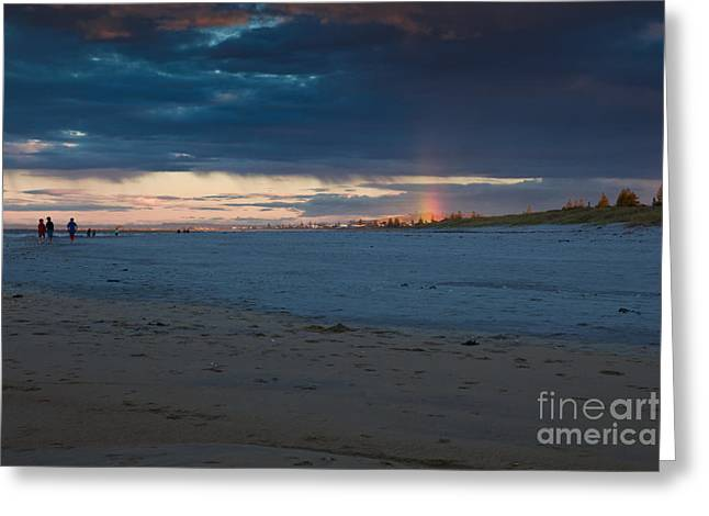 Mount Maunganui Greeting Cards - Rain on a beach Greeting Card by John Buxton