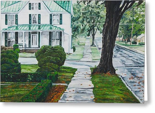 Small Towns Greeting Cards - Rain on Green Roof Greeting Card by Thomas Akers