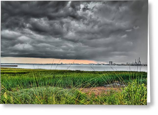 Rain Rolling In On The River Greeting Card by Andrew Crispi