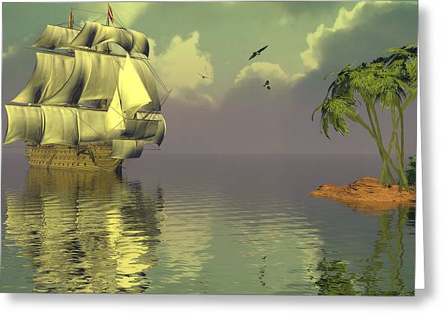 Tall Ships Greeting Cards - Rain squall on the horizon Greeting Card by Claude McCoy
