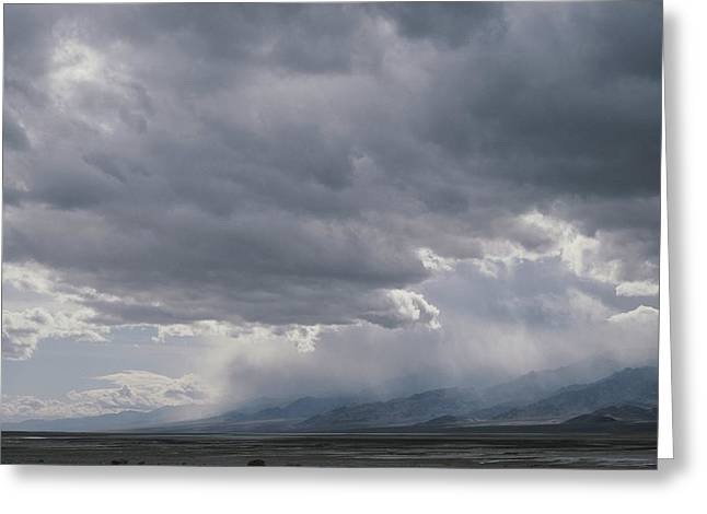 Panamint Valley Greeting Cards - Rain Squalls Hover Over Panamint Range Greeting Card by Gordon Wiltsie