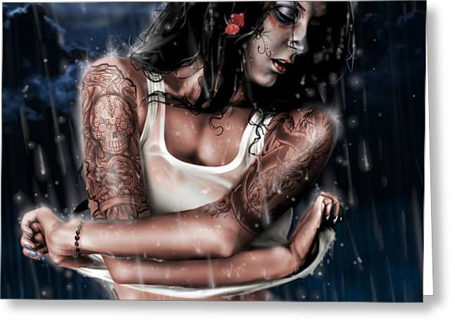 Rain When I Die Greeting Card by Pete Tapang