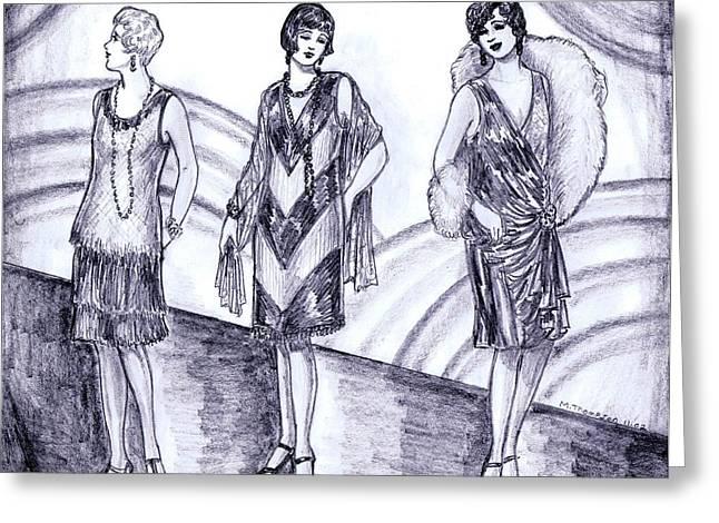 Rainbow 1920s Fashions Greeting Card by Mel Thompson