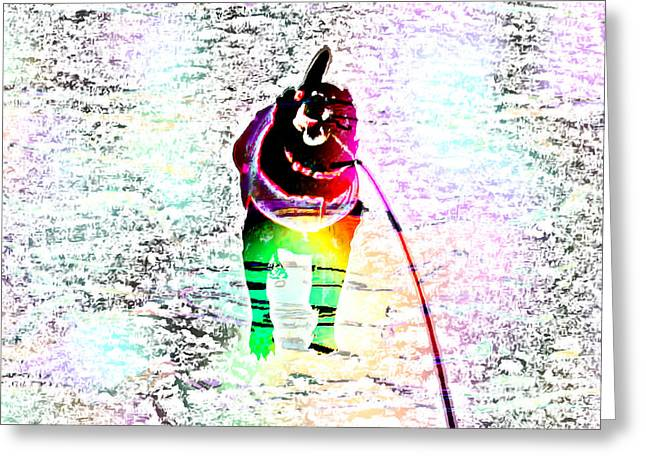 Going For A Walk Greeting Cards - Rainbow Anxious Black Lab Greeting Card by Barbara Griffin