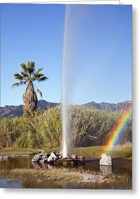 Calistoga Greeting Cards - Rainbow at Old Faithful Greeting Card by Jenna Szerlag