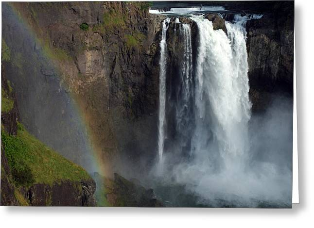 Washington Beauty Greeting Cards - Rainbow At Snoqualmie Falls, A Popular Greeting Card by Darlyne A. Murawski