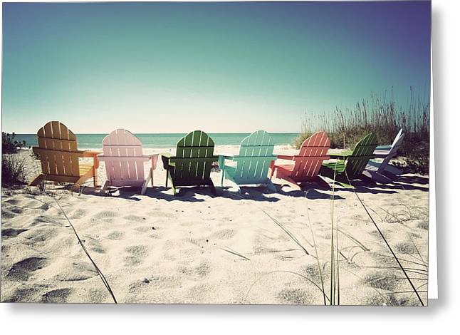 Florida Landscape Greeting Cards - Rainbow Beach-Vintage Greeting Card by Chris Andruskiewicz