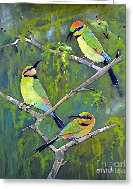 Australian Bees Greeting Cards - Rainbow Bee-Eaters Greeting Card by Audrey Russill