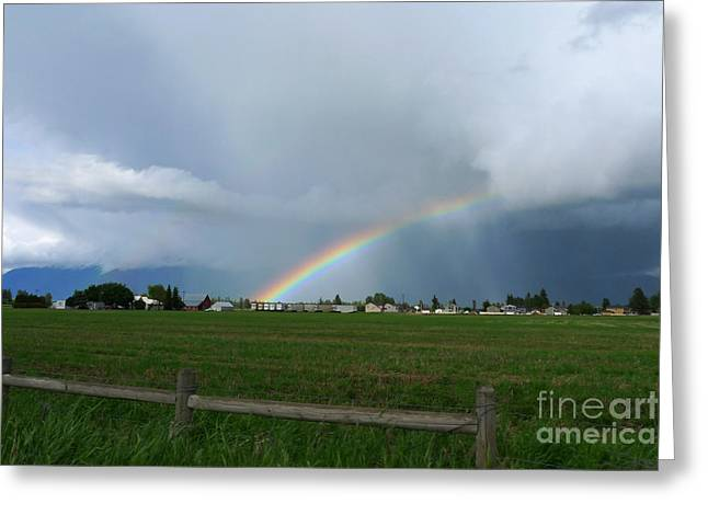 Nina Prommer Greeting Cards - Rainbow before the storm Greeting Card by Nina Prommer