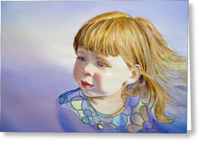 Toddler Girl Greeting Cards - Rainbow Breeze Girl Portrait Greeting Card by Irina Sztukowski