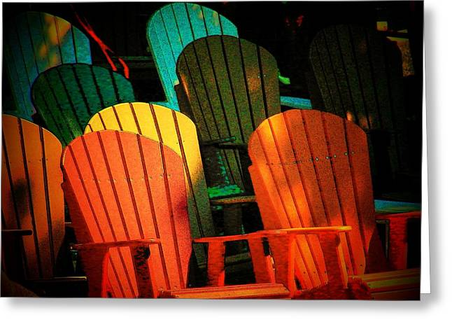 Rainbow Chairs Greeting Card by Joyce Kimble Smith
